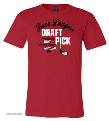Beer League Draft Pick Hockey Shirt red