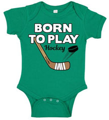 born to play hockey baby bodysuit kelly green