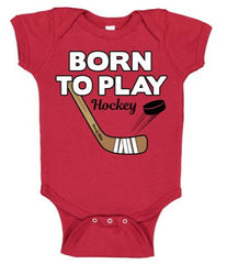 born to play hockey baby bodysuit red