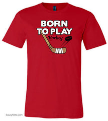 Born To Play Hockey Youth Shirt red