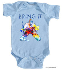 bring it hockey goalie watercolor infant bodysuit onesie light blue