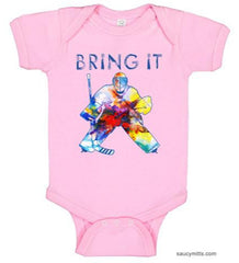 bring it hockey goalie watercolor infant bodysuit onesie pink