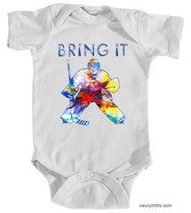 bring it hockey goalie watercolor infant bodysuit onesie white