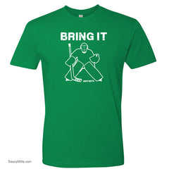 bring it hockey goalie kids youth shirt green