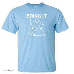 bring it hockey goalie kids youth shirt light blue