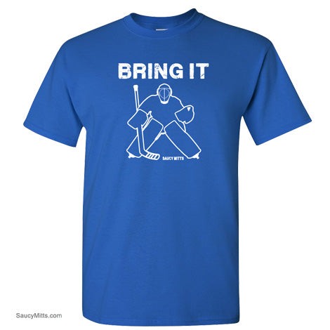bring it hockey goalie shirt royal blue