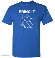 bring it hockey goalie kids youth shirt royal blue