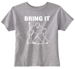 Bring It Hockey Goalie Toddler Shirt heather gray