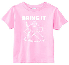 Bring It Hockey Goalie Toddler Shirt pink