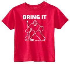 Bring It Hockey Goalie Toddler Shirt red