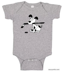 cartoon hockey dog infant bodysuit onesie heather gray