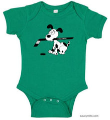 cartoon hockey dog infant bodysuit onesie kelly green