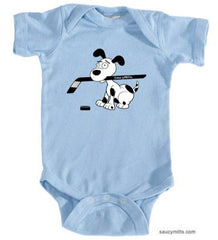 cartoon hockey dog infant bodysuit onesie light blue