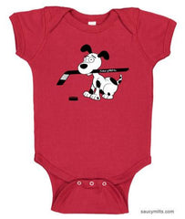 cartoon hockey dog infant bodysuit onesie red