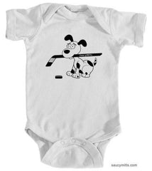 cartoon hockey dog infant bodysuit onesie white
