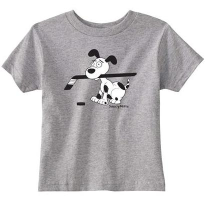 cartoon hockey dog infant toddler shirt heather gray