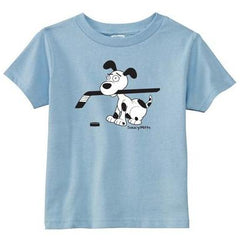 cartoon hockey dog infant toddler shirt light blue