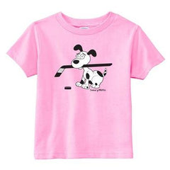 cartoon hockey dog infant toddler shirt pink