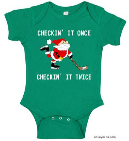 Checking It Hockey Santa Baby Bodysuit