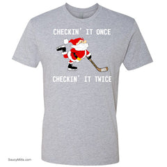 Checking It Christmas Youth Hockey Shirt heather gray