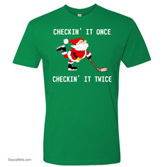 Checking It Hockey Christmas Shirt kelly green