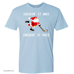 Checking It Hockey Christmas Shirt light blue