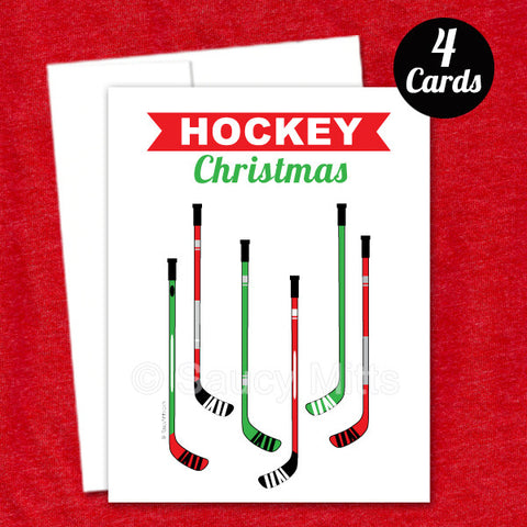 Hockey Sticks Christmas Flat Cards