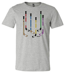 Colorful Hockey Sticks Shirt heather gray
