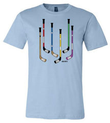 Colorful Hockey Sticks Youth Hockey Shirt light blue