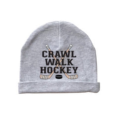 crawl walk hockey baby beanie cap hat heather gray