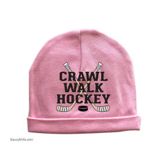 crawl walk hockey baby beanie cap hat pink