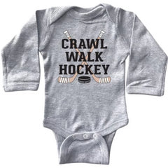 crawl walk hockey infant long sleeve bodysuit heather gray