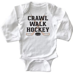 crawl walk hockey infant long sleeve bodysuit white