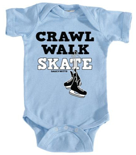 crawl walk skate hockey baby bodysuit light blue