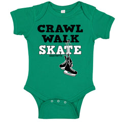 crawl walk skate hockey baby bodysuit kelly green