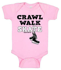 Crawl Walk Skate Hockey Infant Bodysuit pink