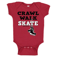 crawl walk skate hockey baby bodysuit red
