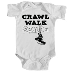 crawl walk skate hockey baby bodysuit white