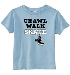 Crawl Walk Skate Hockey Toddler Shirt light blue