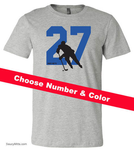 Custom Number Hockey Shirt heather gray
