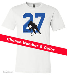 Custom Hockey Number Youth Shirt white