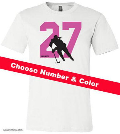 Girls Custom Hockey Number Youth Shirt