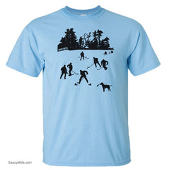 day on the lake kids hockey shirt light blue