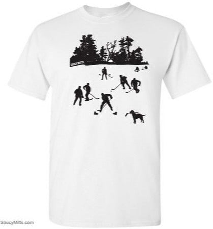day on the lake kids hockey shirt white