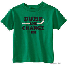 Dump and Change Hockey Toddler Shirt - Color kelly green