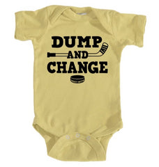 dump and change hockey infant onesie banana yellow