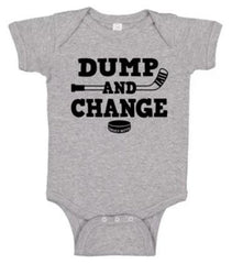 dump and change hockey infant onesie heather gray