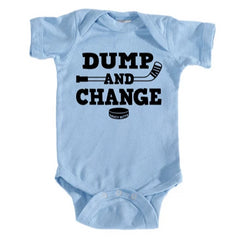 dump and change hockey infant onesie light blue
