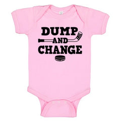 dump and change hockey infant onesie light pink