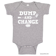 Dump and Change Hockey Infant Bodysuit White heather gray